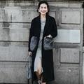 INU053 Новое Прибытие Осень и Зима 2016 женская мода мех карманный свободные X Долго шерстяное пальто черный