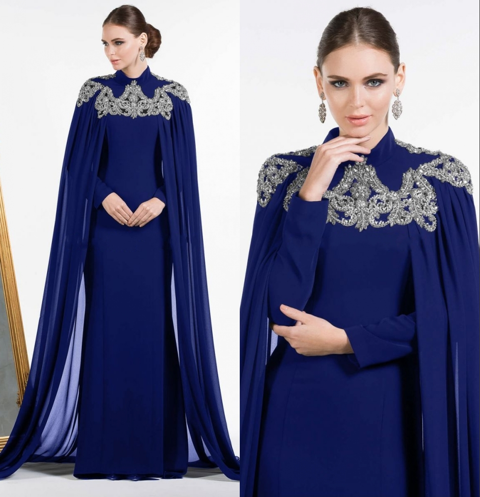 High Neck Royal Blue Chiffon Evening Dresses 2017 With