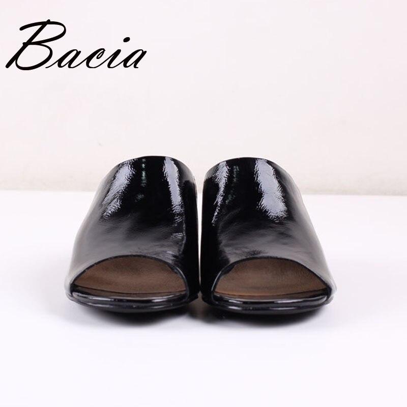 Sa023 Véritable Femmes 41 Taille 33 De Femme Hauts Noir Creux Bacia Chaussures 2017 Talons Pour Sandales Mode L'été Pantoufles Cuir 1SUqg