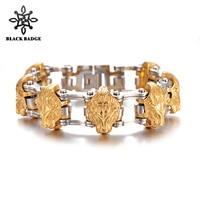 BLACK BADGE Men's Wolf head Bracelet Stainless Steel Bracelets 2019 Gold Color Chain Link Men Hip Hop Rock Jewelry Gift