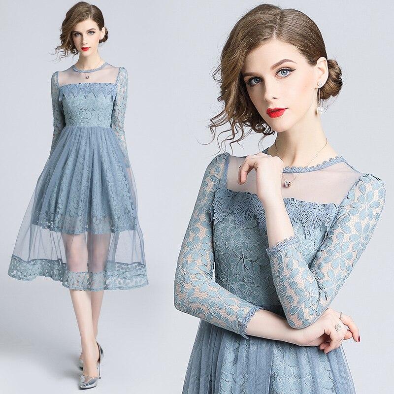 2019 Spring Mesh Patchwork Lace Dress Women O-neck Work Casual Party Slim Sexy Solid Modern Elegant Vintage Lady Dress Vestidos