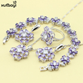 XUTAAYI 925 Silver Color Jewelry Sets Purple Created Amethyst Flawless Necklace/Rings/Earrings/Bracelet For women Free Gift