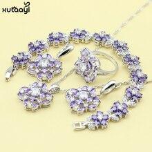 XUTAAYI 925 Silver Color Jewelry Sets Purple Created Amethyst Flawless Necklace/Rings/Earrings/Bracelet For women Free Gift