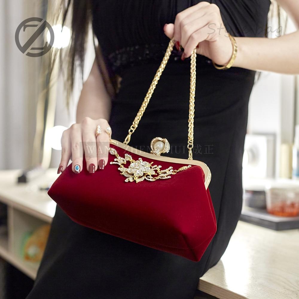 Ladies Dinner Bag Deluxe Evening bag 2018 sparkle Pearl Velvet Noodles woman shoulder bag