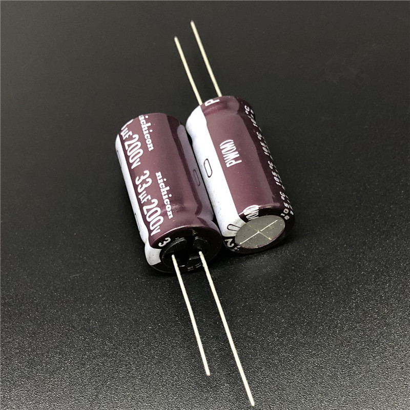 10pcs 33uF 200V NICHICON PW Series 12.5x25mm Low Impedance 200V33uF Aluminum Electrolytic Capacitor