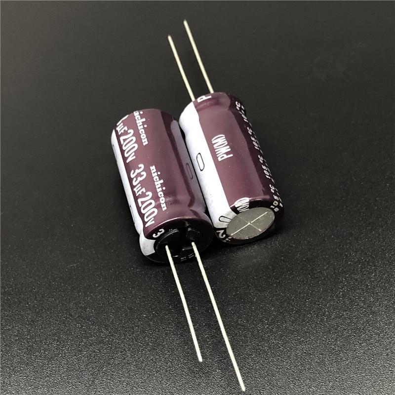 10pcs 33uF 200V NICHICON PW Series 12.5x25mm Low Impedance 200V33uF Aluminum Electrolytic Capacitor