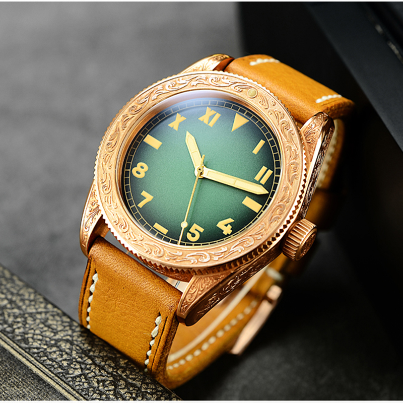 San Martin Men Vintage Tin Bronze Carved Watch Automatic Sapphire Glass 500M Water Resistant Multiple dials Relojes Diving Watch