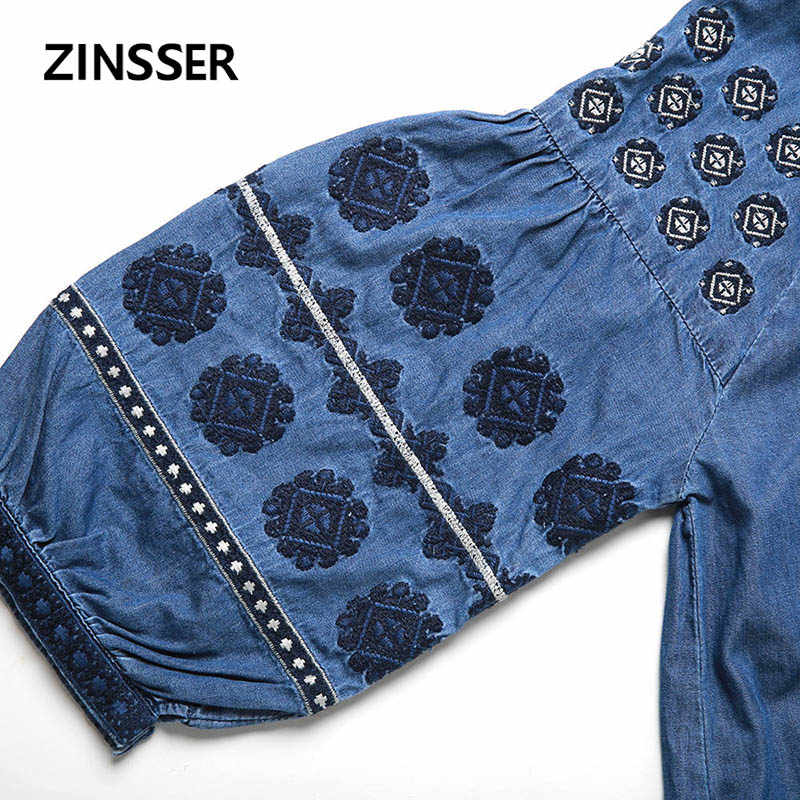 Herfst Winter Vrouwen Denim Fancy Dress Losse Casual Borduurwerk Half Mouw 100% Katoen Gewassen Blauw Vrouwelijke Dame Jurk
