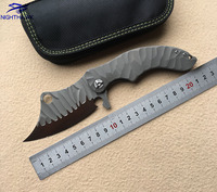 NIGHTHAWK 002 XL Flipper folding knife D2 blade TC4 titanium alloy handle camping hunting outdoor Kitchen knives edc tools
