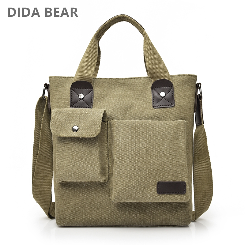 DIDABEAR 2018 Men Crossbody Bags Male Canvas Shoulder Bags Unisex Big Messenger Bags Retro Satchels for Work Travel Casual