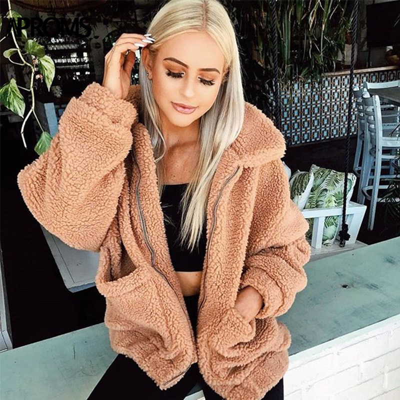 Aproms Women Winter Front Pockets Warm Thick Coats Autumn Casual Oversized Soft Teddy Jacket High Street Coat Outwear Female
