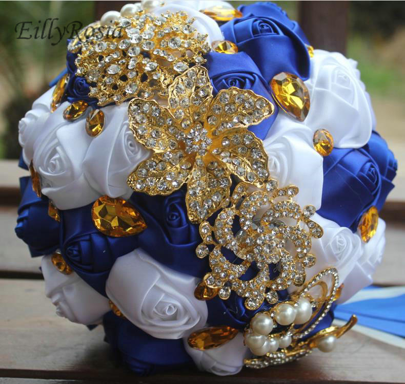 Gold Brooch Jewelry Crystals Bridal Bouquet Artificial Roses Rhinestones Royal Blue White Wedding Bouquet De Mariage Exotique Wedding Bouquets Aliexpress