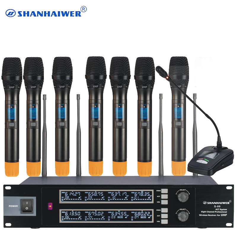 top quality original 8ch wireless uhf microphone professional system with handheld mic and. Black Bedroom Furniture Sets. Home Design Ideas