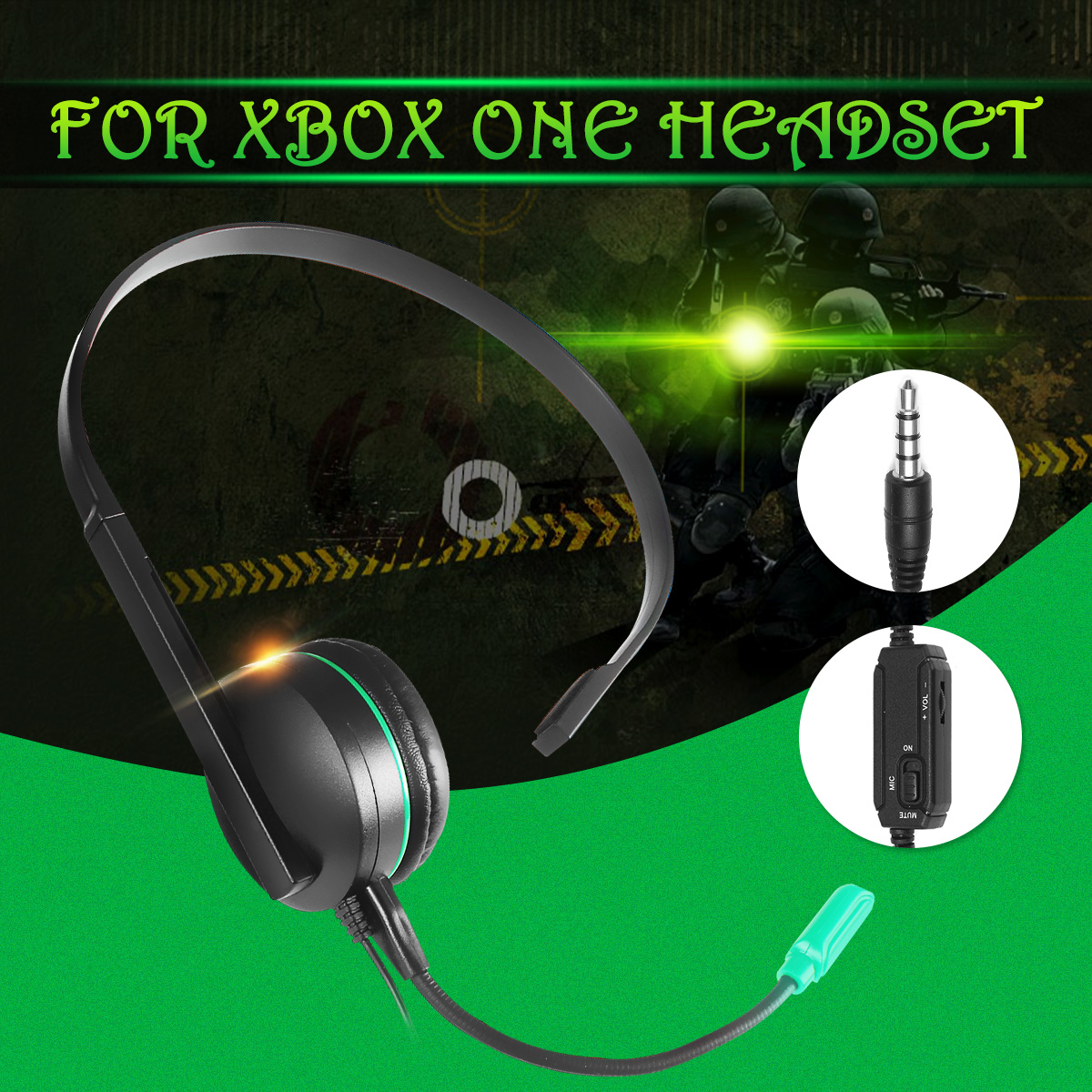Wired Chat Gaming Single Side Headset Headphones Earphone Gaming Noise Cancelling With Microphone For PS4 For Xbox ONE unilateral earphone headset w volume control microphone for xbox 360 black 120cm cable