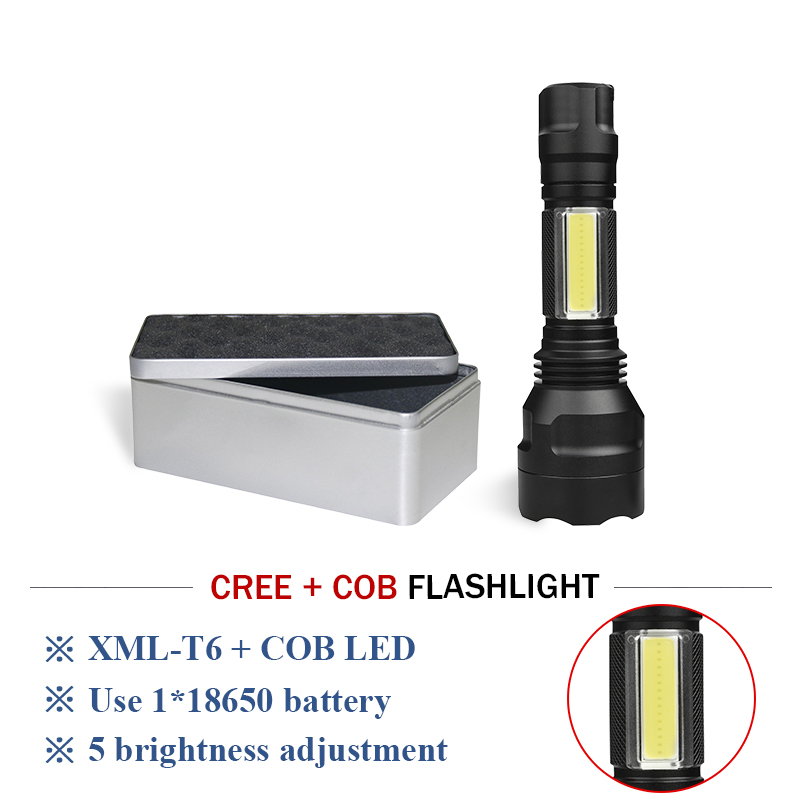 portable flash light cob cree xml t6 tactical led flashlight torch for bicycle Camping lights penlight 18650 battery zaklamp