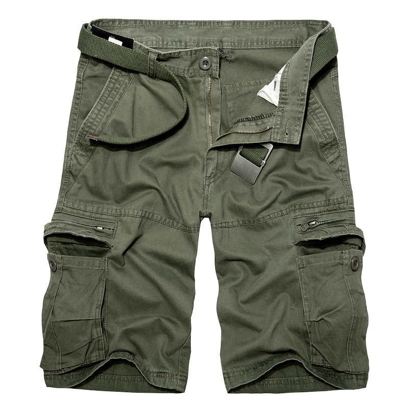 2019 Summer Mens Knee Length Cotton Army Cargo Shorts Men Casual Shorts Multi-pocket Loose Shorts Bermuda Trousers Dropshipping