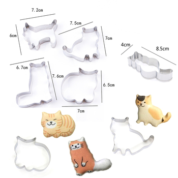 5pcs Cookie Cutters Moulds Stainless Steel Cute Animal Cat Shape Biscuit Mold DIY Fondant Pastry Decorating Baking Kitchen Tools stainless steel christmas house cookie mold diy baking cookie tools biscuit fondant cutters christmas cookie cutters