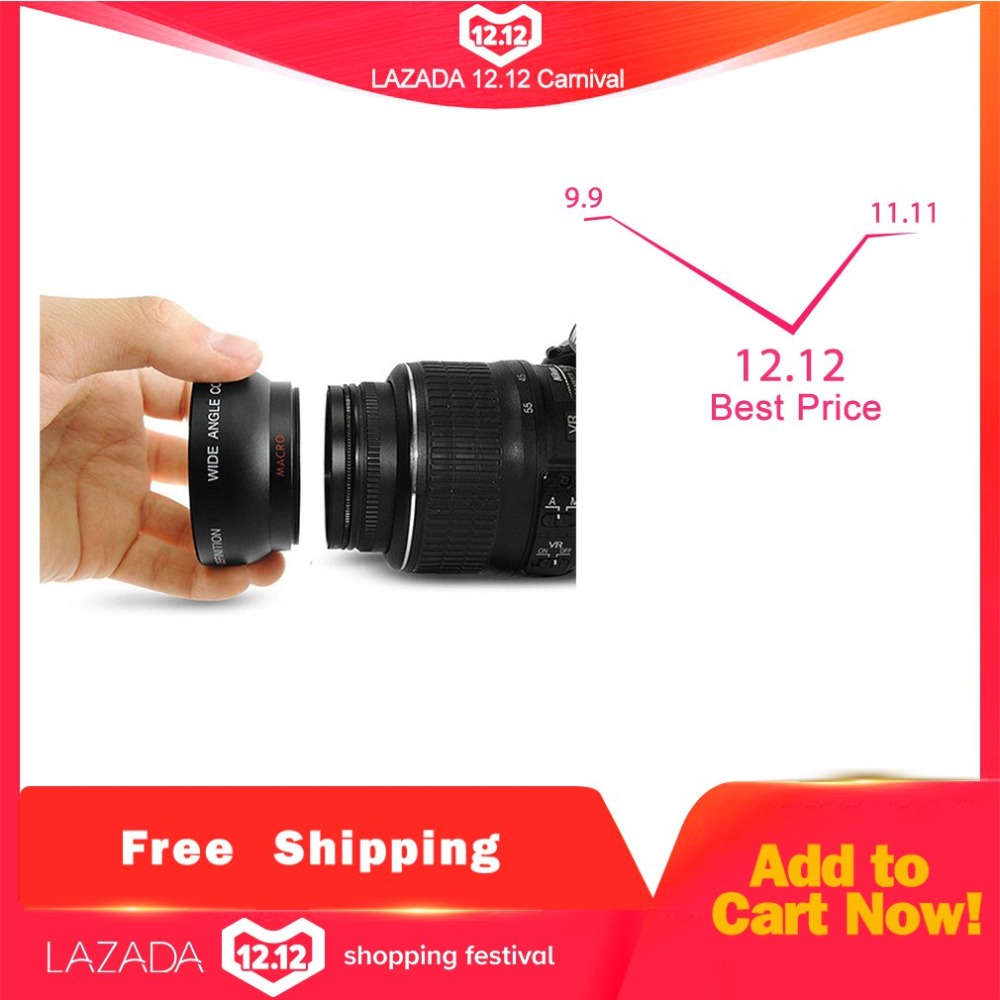 Professional 52MM 0.45 x Wide Angle Macro Lens for Nikon D3200 D3100 D5200 D5100 Black Super Wide Angle image