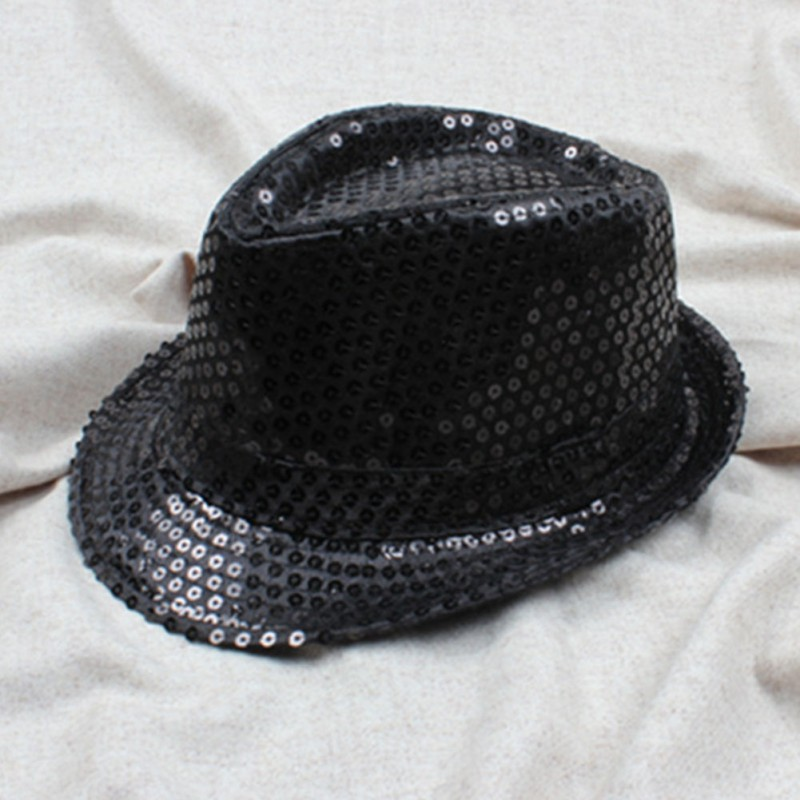 2018 Child Kids Boy Girl Adult Cap Sequin Hat Jazz Cap Popular Trilby Flat Top Topper Fedora Top Hat Sequins Fashion Women Men