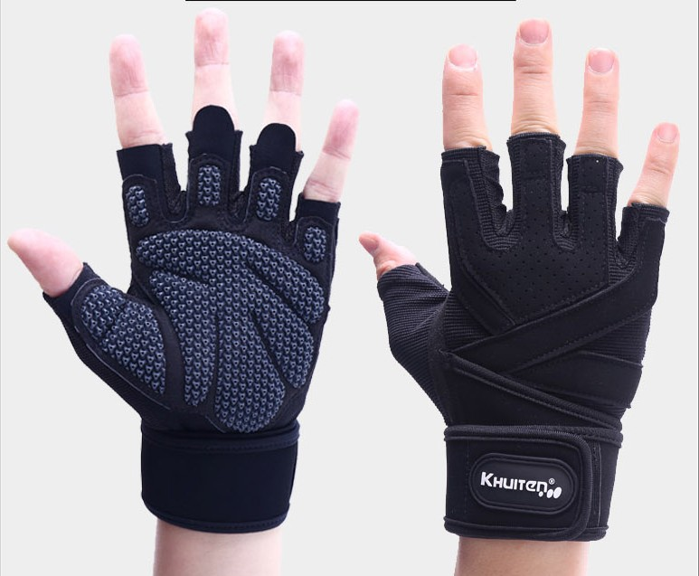 Fingerless Gloves Dumbbell Half Finger Horizontal Bar Bracer Glove Antiskid Barbell Weightlifting