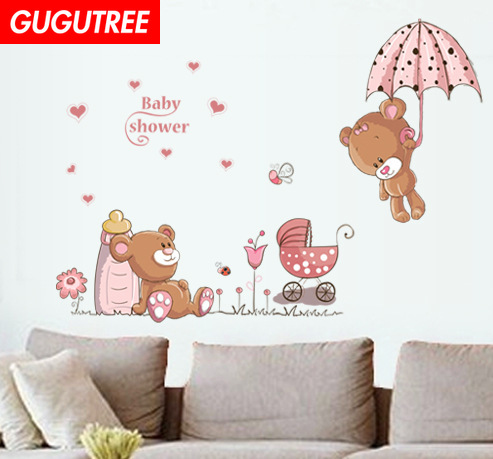 Decorate bear buttlefly flower art wall sticker decoration Decals mural painting Removable Decor Wallpaper LF-1878