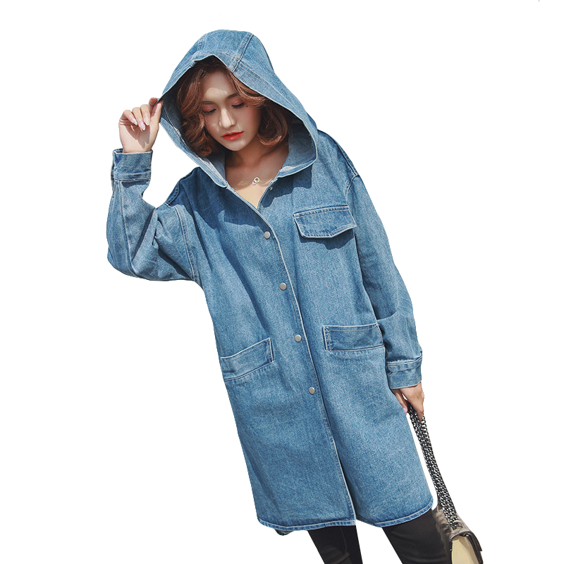 Oversized Womens Denim   Trench   Coat Loose Casual Outerwear 2019 New Split Hem Spring Hooded Long Coat Women Jean Overcoat