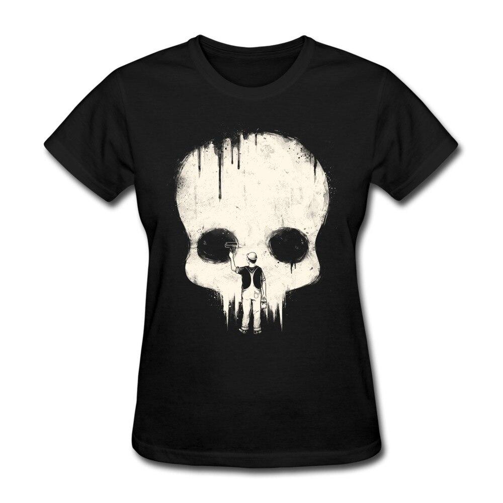 Custom Slim Fit Womens skull T Shirt Paint it Black Cool Texts ...