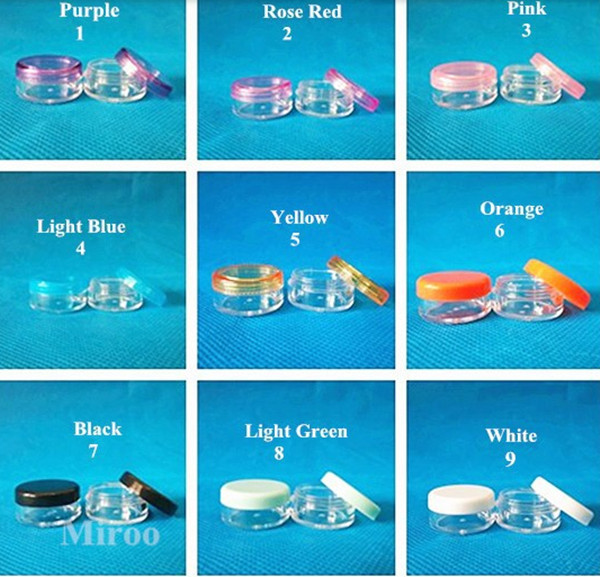 500PCS/LOT-5G Cream Jar,Clear Plastic Pot with Screw Cap,Small Sample Cosmetic Container,Empty Mask Canister,Nail Art Cans