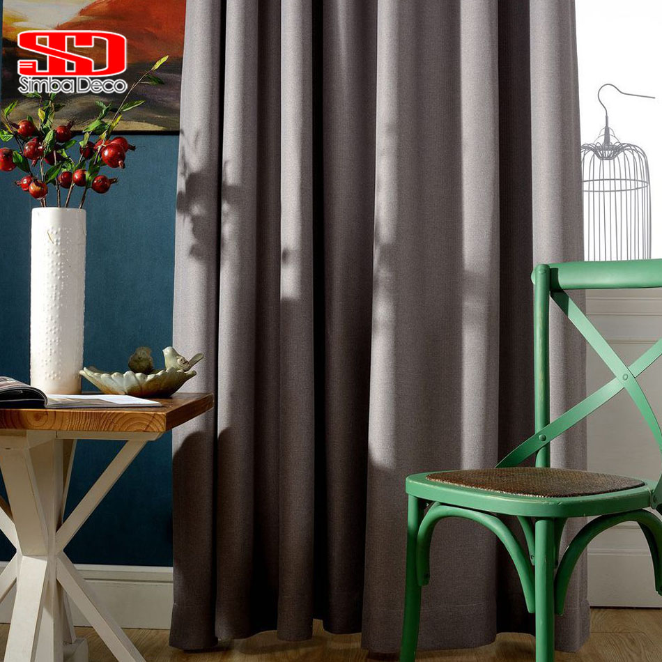 Modern Solid Faux Linen Blackout Curtains For Bedroom