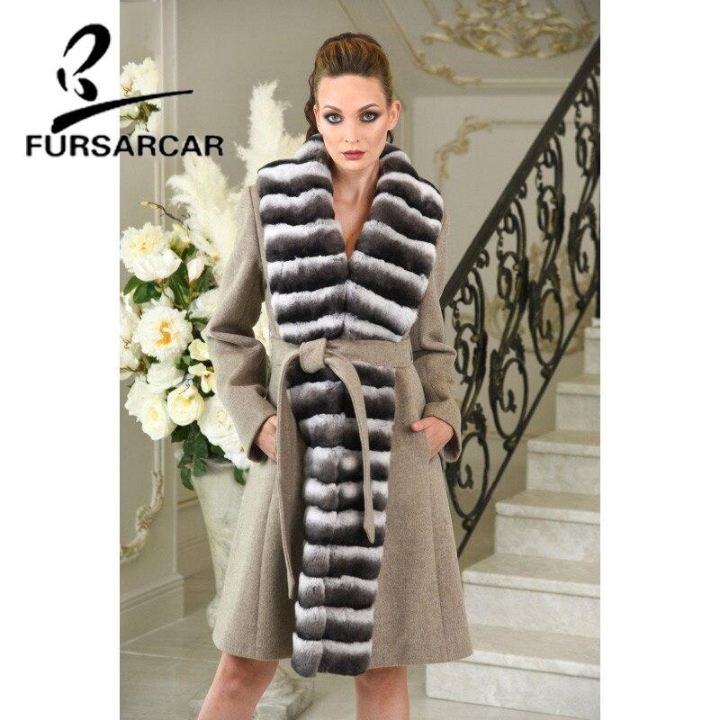 Laine Col Avec Nouvelle Manteau Mode 2018 Cachemire Fursarcar Lapin Femmes De Veste Rex Luxe Fourrure Naturel D'hiver Réel wz1aCn4nxq