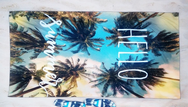Microfiber compact Travel beach towel  Swimming Camping Bath Pareo Palm tree printed holiday Quick Drying towel outdoors towel