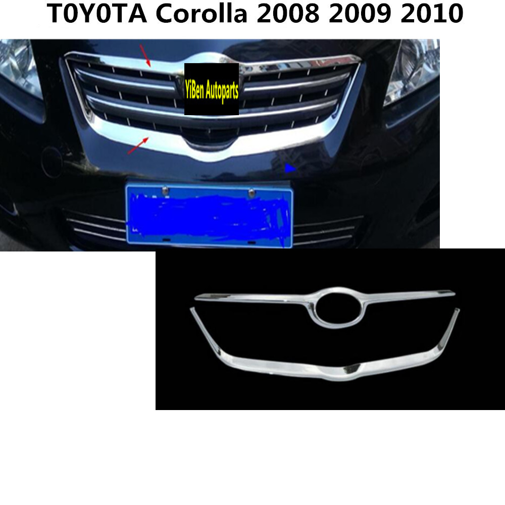 For toyota corolla 2008 2010 car abs chrome front engine racing grill machine grille upper