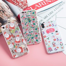 Napeyin Christmas Case for iphone X 10 8 7 6 6s Plus 5 5s SE Santa Claus Soft TPU Silicon Transparent phone Cover for iphone x 8