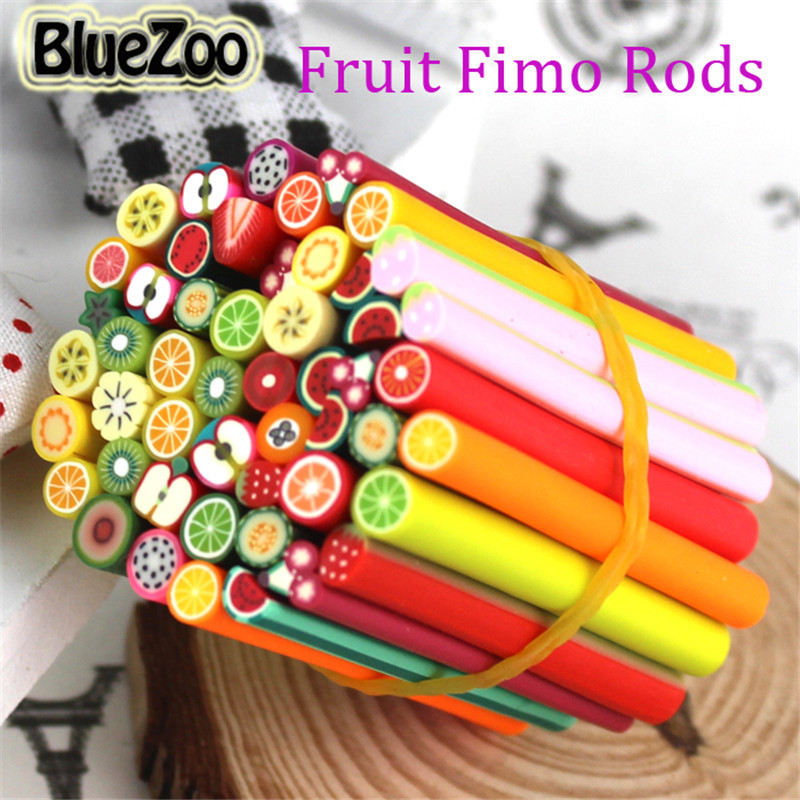 BlueZoo 50pcs Fimo Nail Stickers Manicur Fimo Canes Fruit 3D Nail Art Decoration Polymer Clay Animal Flower Rods Nail DIY Design 1000pcs pack 3d fimo nail art decorations fimo canes polymer clay canes nail stickers diy 3mm fruit feather slices design zj1202