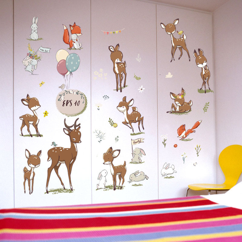 Cartoon animal wall stickers super cute deer rabbit red fox balloon decorative wall sticker for kids room wardrobe furniture DIY