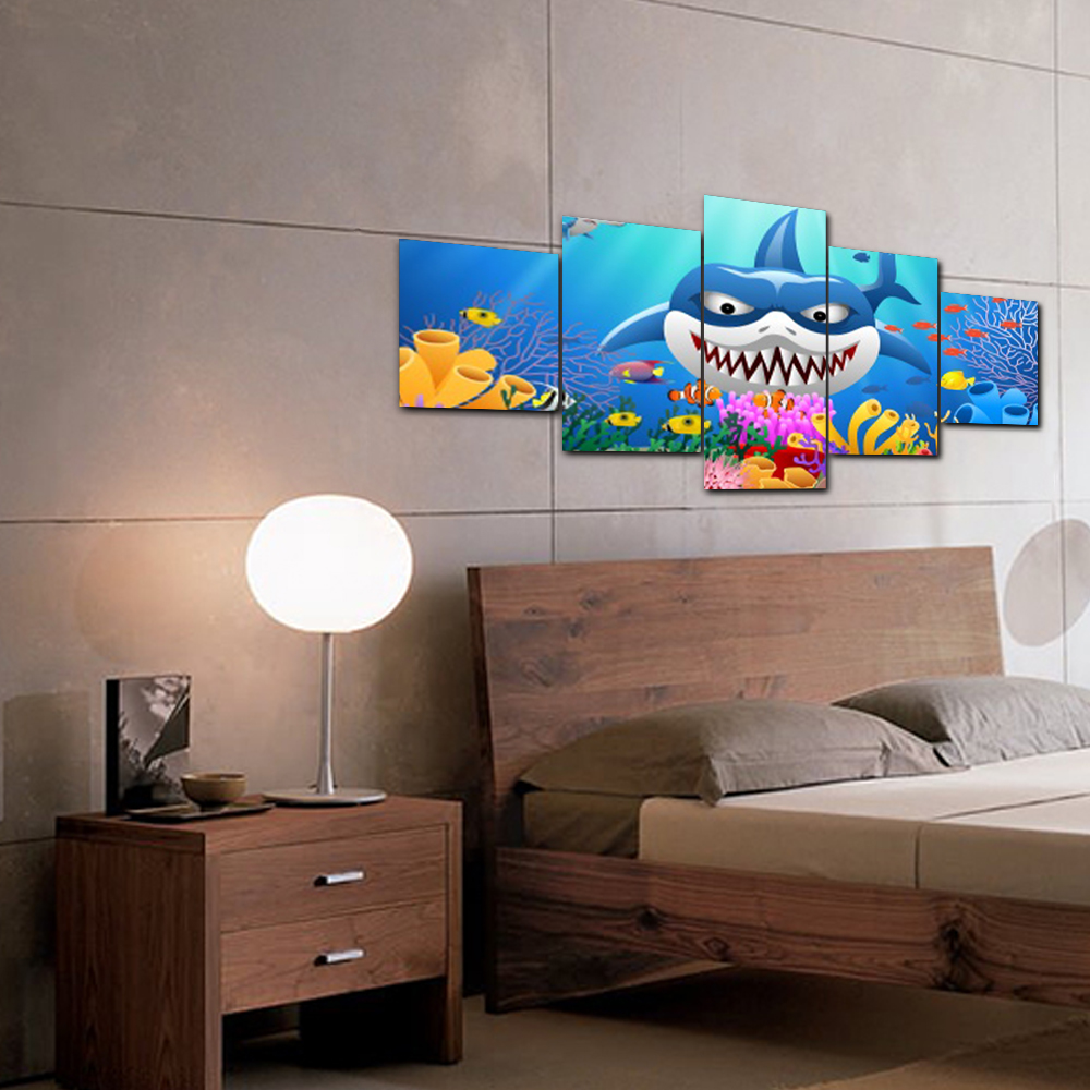 5 Panel Abstract Home Decor Underwater World Shark Poster Wall Art for Living Room Wedding Decoration Canvas Painting in Painting Calligraphy from Home Garden