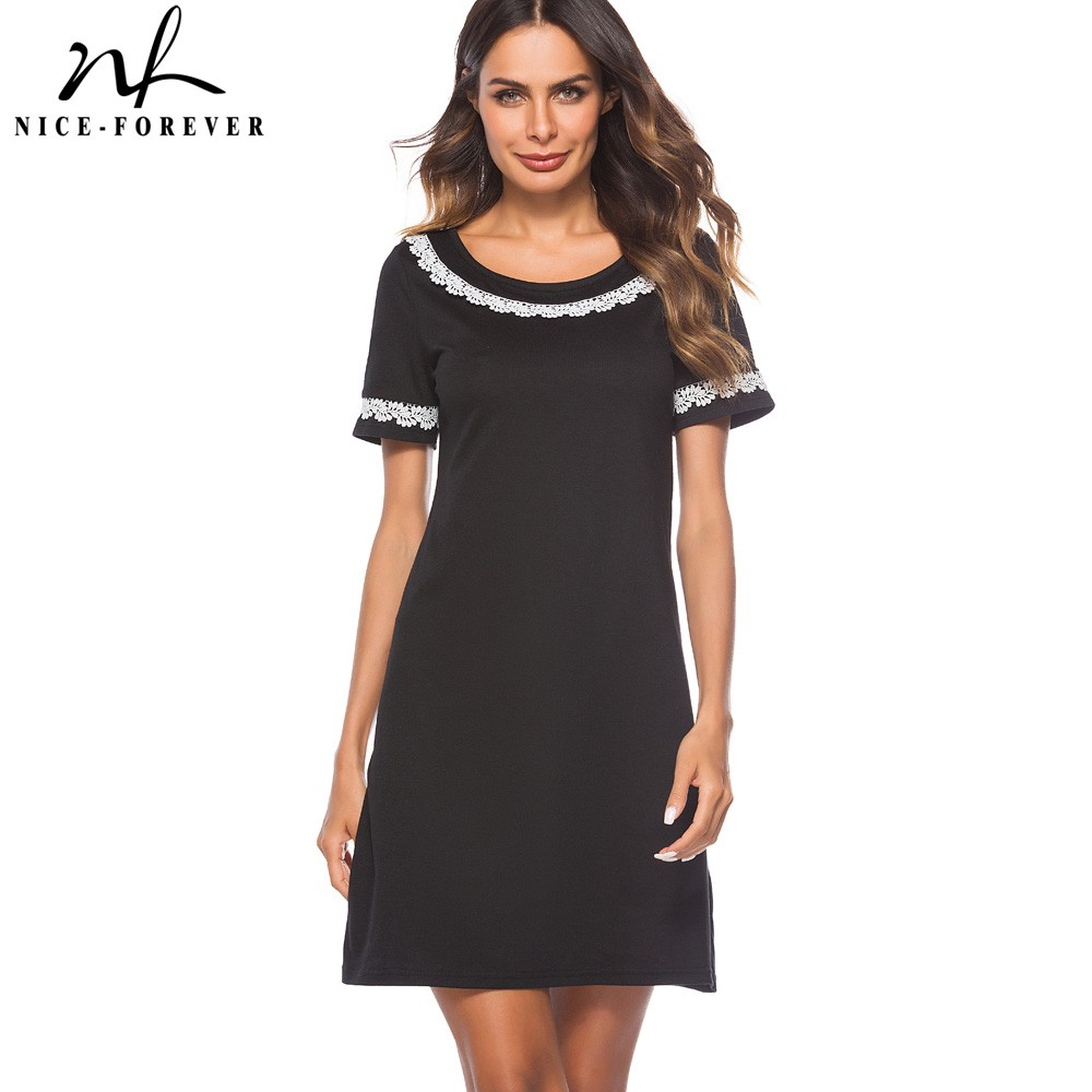 Nice-forever Elegant Brief Black Color Round Neck With Lace Vestidos Short Sleeve Work Women Straight Shift Summer Dress T033
