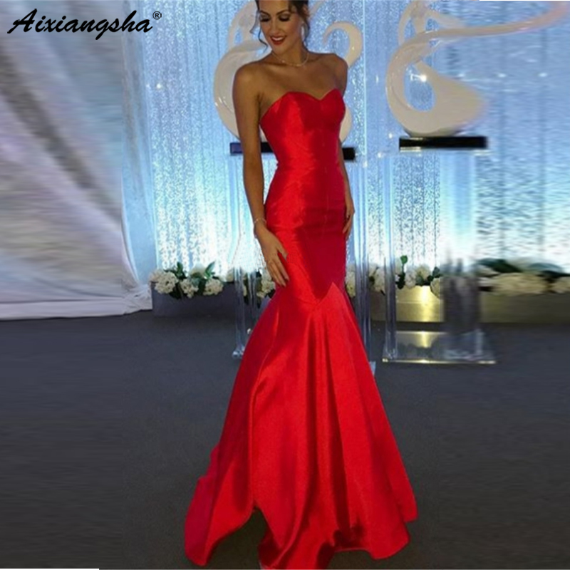 Charming Evening Dress 2019 Mermaid Red Satin Long Strapless Floor Length Sexy Prom Gown Cheap Vestido