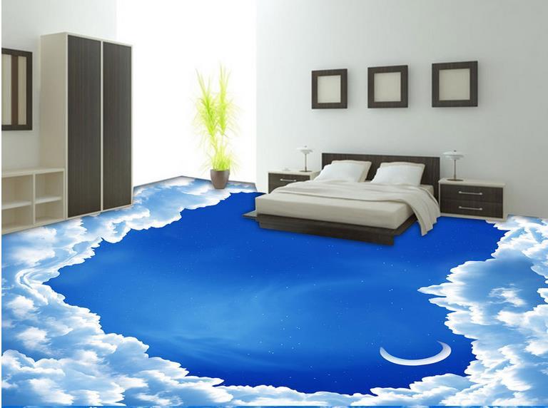 3d Floor Wallpaper Modern Custom Vinyl Flooring Creative Blue Sky