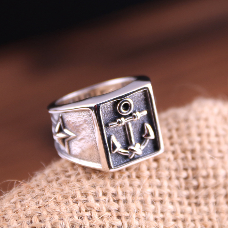 S925 Sterling Silver Ring men and women's Day Korean fashion personality to do the old ship anchor ring back цена
