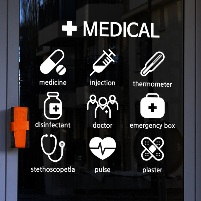 Medical Vinyl Wall Decal Chemist's Shop Medicine Signs