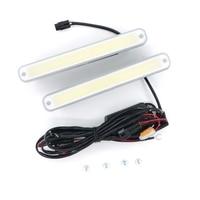 White 2pcs 8W 6000K COB LED Lights Waterproof DRL Daytime Running Light Auto Lamp For Universal