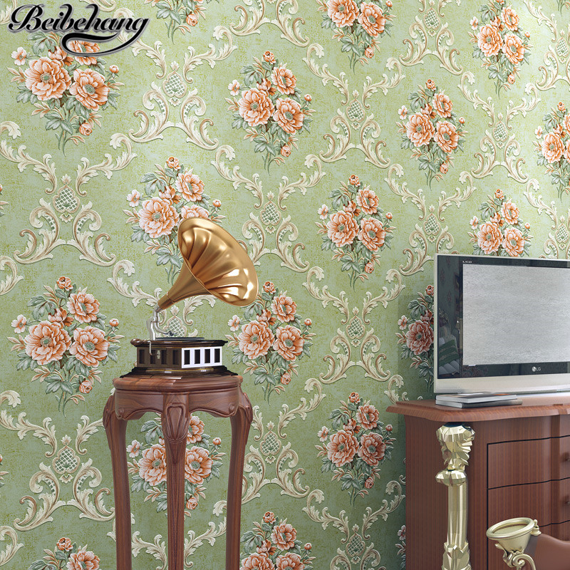 beibehang Retro American 3D Flower Stereo Precision Relief Nonwovens Wallpaper Bedroom Living Room TV Wallpaper Papel de Parede book knowledge power channel creative 3d large mural wallpaper 3d bedroom living room tv backdrop painting wallpaper