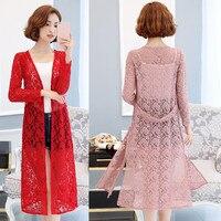 Zozowang New Woman Lace Cardigan Jacket Woman Long Section Summer Thin Shawl Jacket Chiffon Long Sleeved