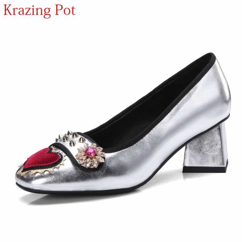2019 Fashion Brand Spring Shoes Round Toe Big Size High Heels Slip on Flowers Love Patterns