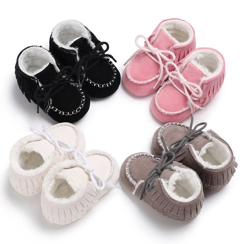 Winter 0-1 Years Old Men And Women Baby Tassels Plus Velvet Anti-skid Baby Toddler Shoes