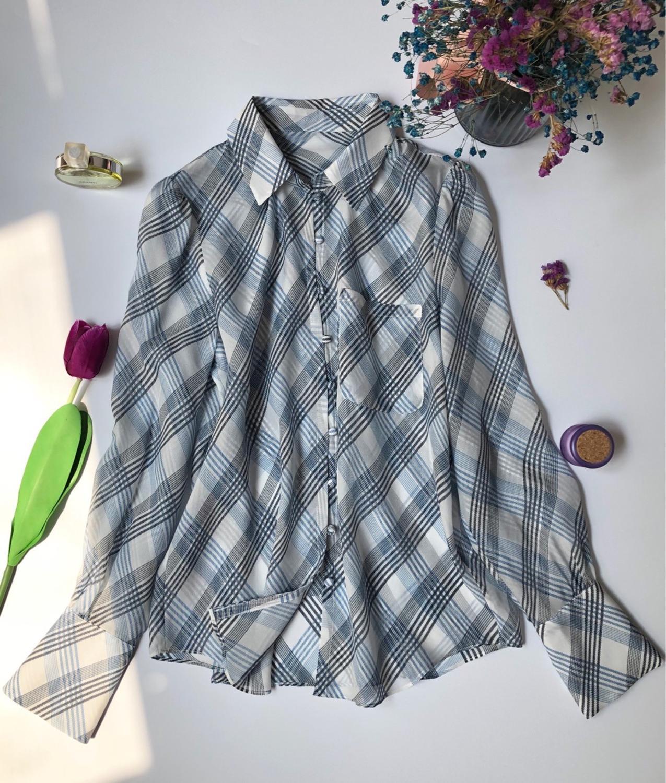 Femmes Blouse à carreaux poche à manches longues voir à travers les hauts de chemise décontracté