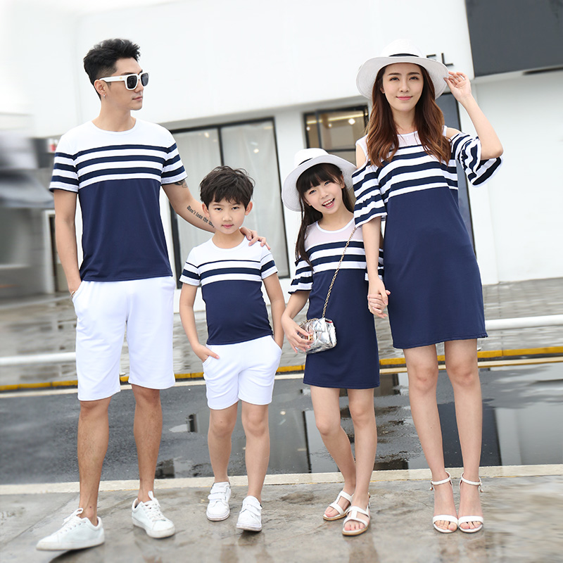 Striped Family Matching Clothes Off Shoulder Mother Daughter Dress Father Son T-shirt Family Set Parent-Child Clothing LB12