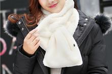 Winter Women Wool Scarf Neck Warmer Wrap Soft Shawl Faux Fur Scarves for