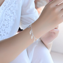 TJP Exquisite Leaf Shaped Girl Silver Anklets Jewelry Top Quality 925 Female Bracelets For Women Engagement Party Bijou